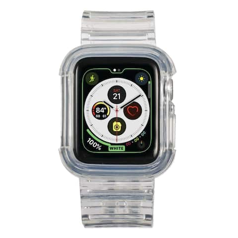 Insten Clear Watch Band with Bumper For 38mm 40mm Apple Watch Series SE 6 5 4 3