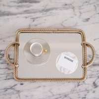 f61ce81f335 Shop Kate and Laurel Kea Round Black Mirror Vanity Tray in Gold - 15 ...