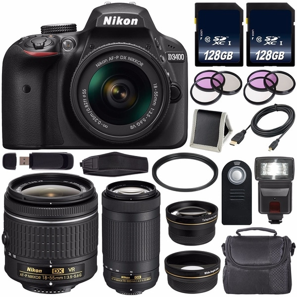 Nikon D3400 DSLR Camera with AF-P 18-55mm VR Lens (Black) International Model + Nikon AF-P DX 70-300mm f/4.5-6.3G ED Lens Bundle