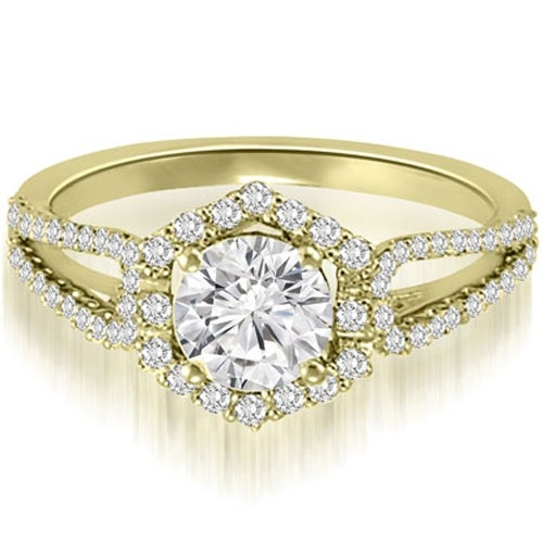 0.85 cttw. 14K Yellow Gold Halo Round Cut Diamond Split-Shank Engagement Ring