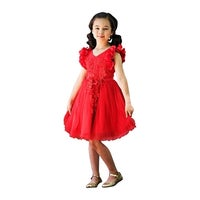 Just Couture S Red Petal Sleeve Satin Junior Bridesmaid Dress