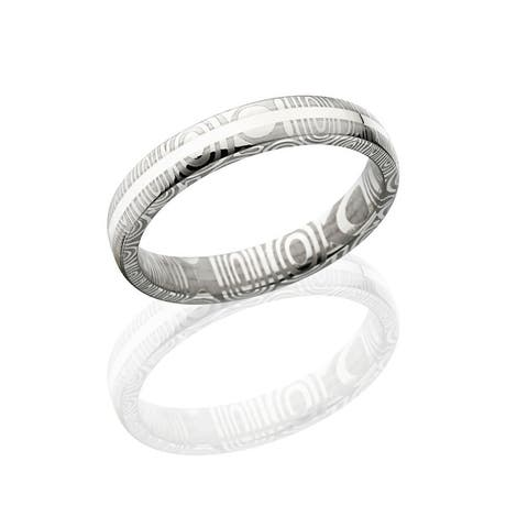 Damascus Steel Wedding Bands Rings Silver Inlay 6mm Wide Engagement