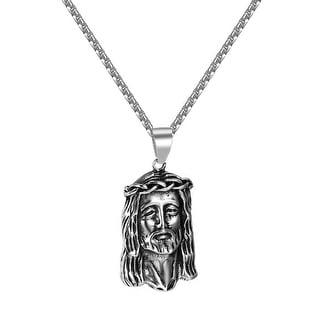 "Jesus Face Pendant Stainless Steel Mens Box Necklace 24"" Hip Hop Christ Charm"
