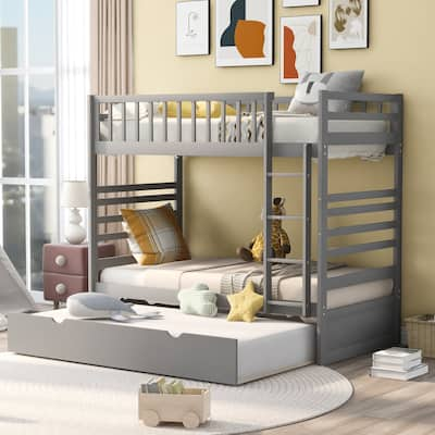 Twin Bunk Bed for Kids with Safety Rail and Movable Trundle Bed