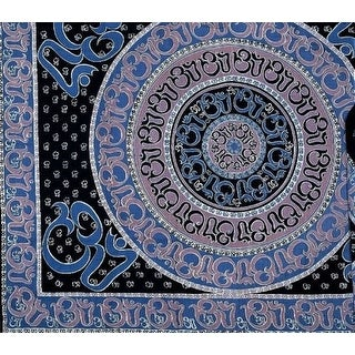Handmade Cotton Mandala Om Print Tapestry Throw Tablecloth Spread Wall hang Twin 70x106