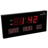 Ivation Big Digital Red LED Clock with Day and Date -Shelf or Wall Mount Red (choose size)