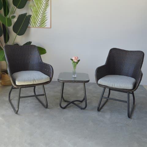 3-pc Patio Rattan Chair Bistro Set w/ Removable Cushions