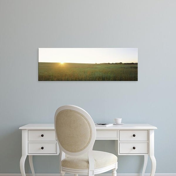 Easy Art Prints Panoramic Images's 'Sunset over a landscape, Iowa County, Wisconsin, USA' Premium Canvas Art