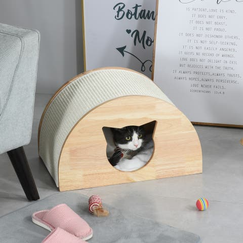 """PawHut Wooden Cat House with Cat-Shaped Entrance Sisal Scratching Carpet Soft Cushion, Natural - 19"""" L x 11.75"""" W x 11.75"""" H"""
