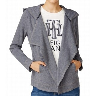 Tommy Hilfiger NEW Gray Women's Medium M Draped Hooded Cardigan Jacket