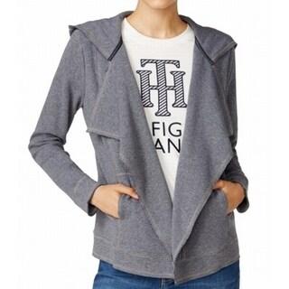 Tommy Hilfiger NEW Gray Women Size Medium M Cardigan Drape Hood Sweater