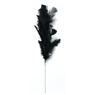 Set of 4 Black Turkey Ruff Feathers Stems Decor 30""