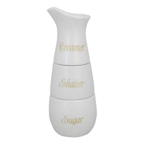 "Ceramic Stackable Creamer Shaker and Sugar Pot Set 8"" - N/A"