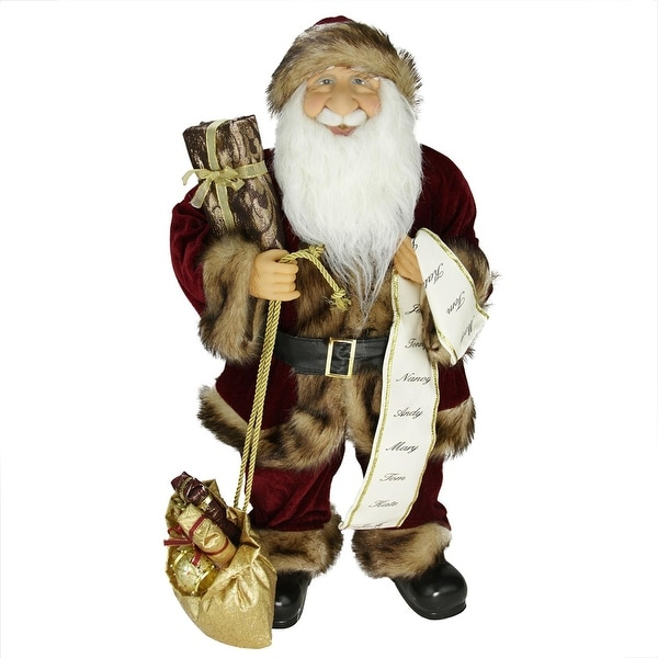 """24"""" Woodland Standing Santa Claus Christmas Figure with Name List and Gift Bag - RED"""