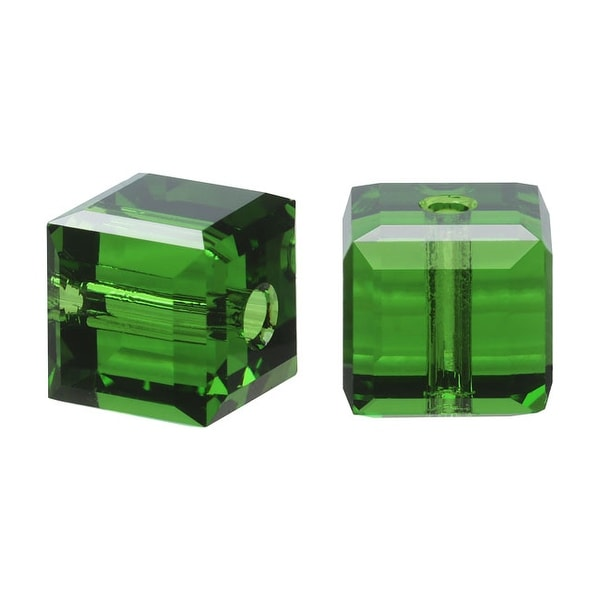Swarovski Elements Crystal, 5601 Cube Beads 8mm, 4 Pieces, Fern Green