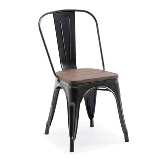 BELLEZE Modern Style Metal Industrial Stackable Bistro Dining Chairs Set of 4 Wood Seat Cafe Bar Restaurant Stool