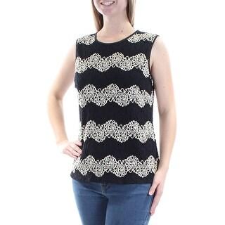 KASPER $69 Womens New 1106 Black Embroidered Jewel Neck Sleeveless Top M B+B
