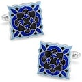 Black and Blue Deco Bloom Cufflinks - Thumbnail 0