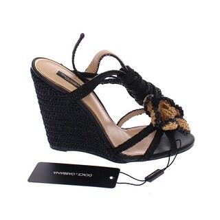 Dolce & Gabbana Black Beige Floral Leather Wedges Shoes - 35