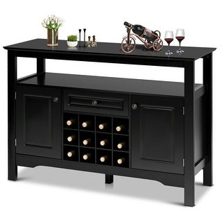 Link to Gymax Storage Buffet Sever Cabinet Sideboard Table Wood Wine Rack Similar Items in Home Bars