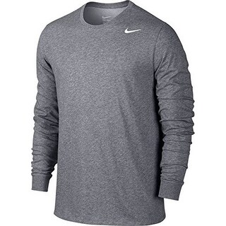 Nike Mens DRY TEE DFC LS 2.0, CARBON HEATHER/CARBON HEATHER/WHITE, XL