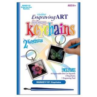 Rainbow Foil Engraving Art Keychains-