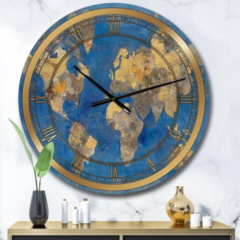 Designart 'Golden Glam World Map' Glam Wall CLock