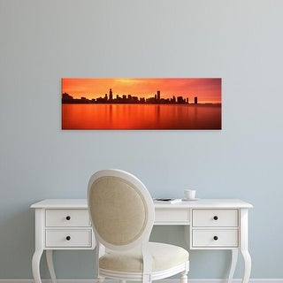 Easy Art Prints Panoramic Images's 'USA, Illinois, Chicago, sunset' Premium Canvas Art