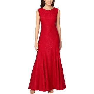 Tahari ASL Womens Evening Dress Metallic Embroidered - 8