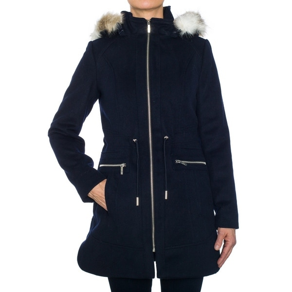 Laundry by Shelli Segal Wool Coat with Fur Trimmed Hood