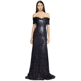 Rene Ruiz Sequined Off The Shoulder Lace Evening Gown Dress