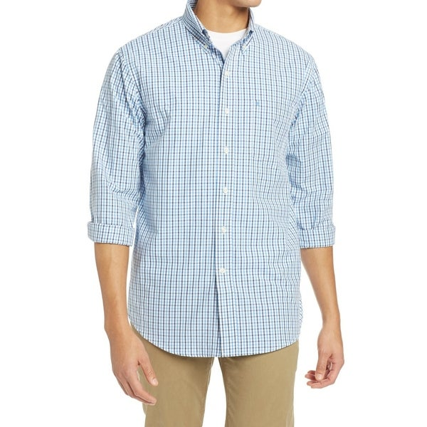a6de67f3e6 IZOD NEW Verdant Green Mens Size Small S Micro-Check Button Down Shirt