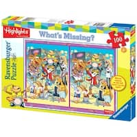 Ravensburger Highlights: Animal Band 100 Piece What's Missing Puzzle - Yellow - 20.0 in. x 15.0 in.