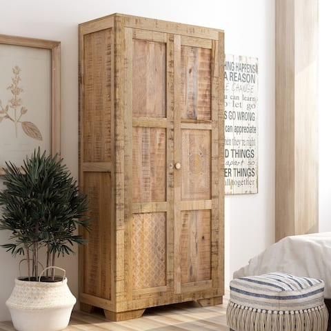 Furniture of America Carina Solid Wood Wardrobe Armoire
