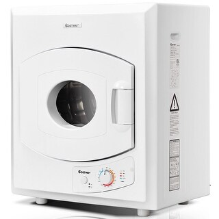 Costway Electric Tumble Compact Laundry Dryer Stainless Steel Wall Mounted 2.65 cu .ft - White