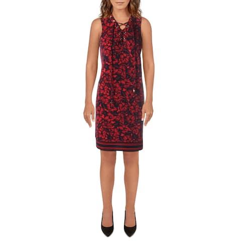 MICHAEL Michael Kors Womens Shift Dress Floral Sleeveless - True Red