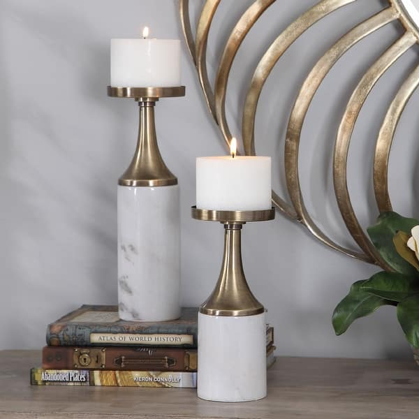 Set of two marble candle holders Marble decor 2 white marble candle holders Candlestick holders