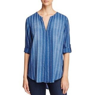 Side Stitch Womens Casual Top Printed Adjustable Sleeves