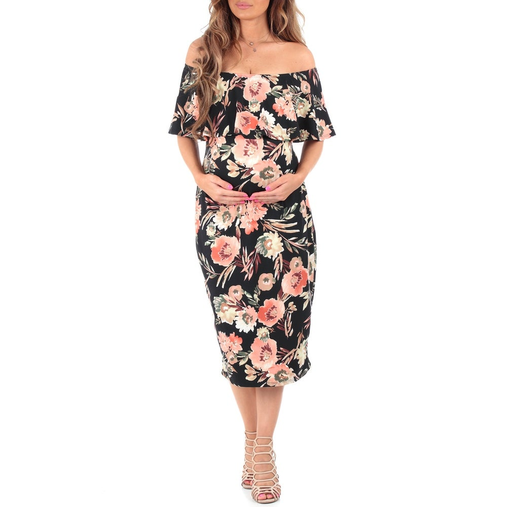 Womens Off Shoulder Ruffle Maternity Dress - Made in USA