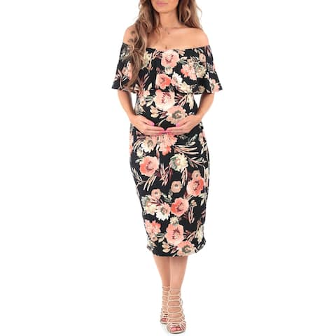 Women's Off Shoulder Ruffle Maternity Dress - Made in USA