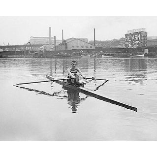 ''Chicago Cubs Pitcher Fred Fussell Rowing in One Man Shell, 1924'' by McMahan Photo Archive Photography Art Print (8 x 10 in.)