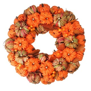Orange and Brown Woven Pumpkin Artificial Thanksgiving Autumn Wreath - 15-Inch
