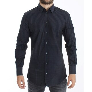 Dolce & Gabbana Black Checkered Slim Fit GOLD Casual Shirt