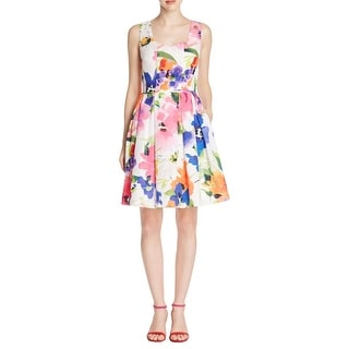 Adrianna Papell Womens Casual Dress Floral Print Box Pleat