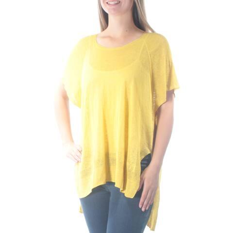 RACHEL ROY Womens Yellow Sheer Slitted Short Sleeve Jewel Neck Hi-Lo Top Size: M