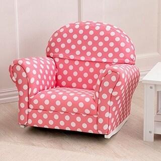 KidKraft Upholstered ROCKER CHAIR, White Polka Dots KIDS ROCKING CHAIR, Pink - pink with white polka dots