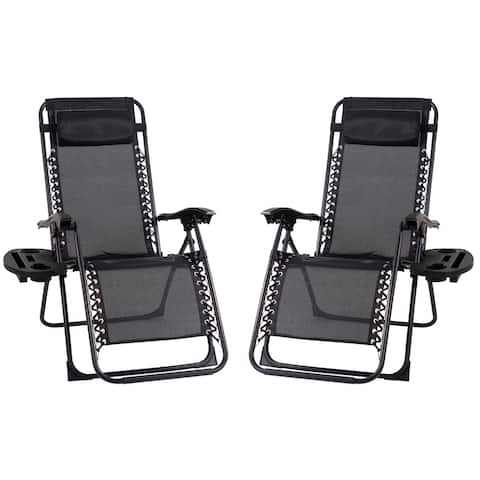 Patio Premier 2PK Gravity Chairs with Foot cover, with Big Cupholder
