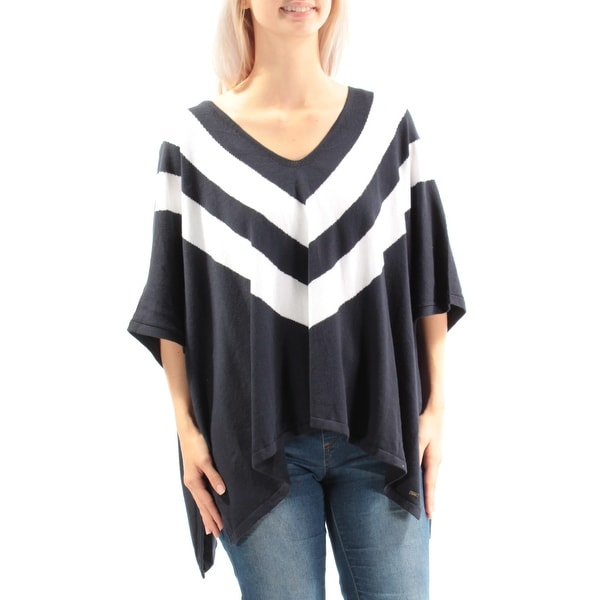 Shop Womens Navy White V Neck Casual PONCHO Sweater Size S - On Sale - Free  Shipping On Orders Over  45 - Overstock.com - 22642968 f83ea7e71