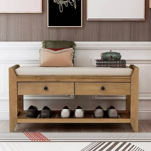 """Old Pine Shoe Rack with Cushioned Seat and Drawers,Entryway Storage Bench - 39""""L x 14""""W x 19.8""""H"""