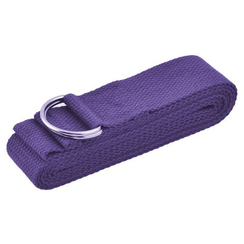 Cotton Blends Loop Stretching Exercise Yoga Strap Band Purple 2.5M Length
